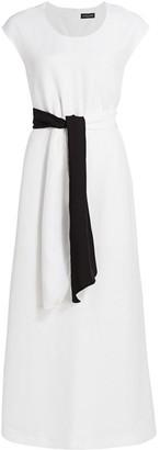 Piazza Sempione Contrast Belt Midi Dress
