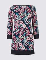 Marks and Spencer Floral Print Round Neck 3/4 Sleeve Tunic