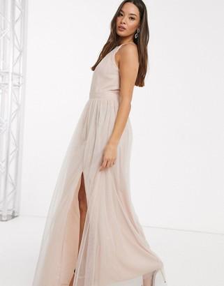 Little Mistress halterneck maxi dress in light pink