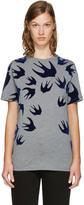McQ Grey and Navy Swallows T-Shirt
