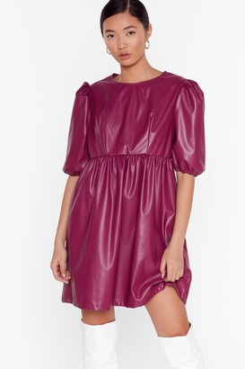 Nasty Gal Womens Faux Leather You're in or Out Puff Mini Dress - Plum