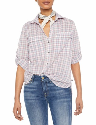 William Rast Women's Dalila Roll Tab Sleeve Shirt with Bandana