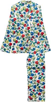 Yolke Floral-print Stretch-silk Satin Pajama Set