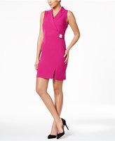 Sandra Darren Petite Faux-Wrap Dress