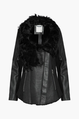 Ashley B. Wool-paneled Shearling And Leather Biker Jacket