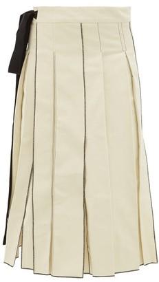 Sara Lanzi Pleated Cotton-twill Midi Skirt - Ivory