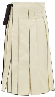 Sara Lanzi Pleated Cotton Twill Midi Skirt - Womens - Ivory