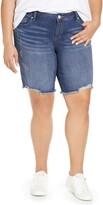 SLINK Jeans Frayed Hem Denim Bermuda Shorts