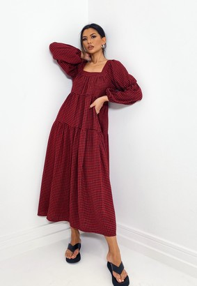 Missguided Tall Red Dogtooth Print Maxi Smock Dress
