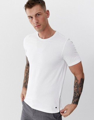 Jack and Jones side zip t-shirt in white