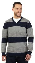 Maine New England Grey And Navy Twist Striped V Neck Jumper
