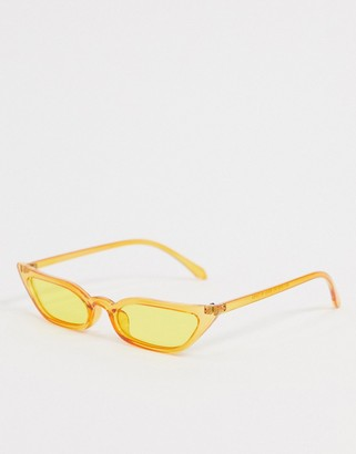 SVNX cat eye sunglasses in clear yellow with yellow lens