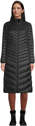 Lands' End Petite Ultralight Hooded Packable Maxi Down Puffer Coat