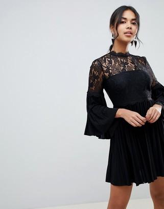 ASOS DESIGN lace and pleat mini skater dress