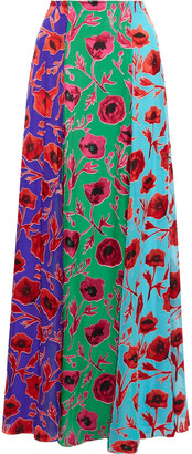 Alice + Olivia Aquinnah Color-block Floral-print Burnout Chiffon Maxi Skirt