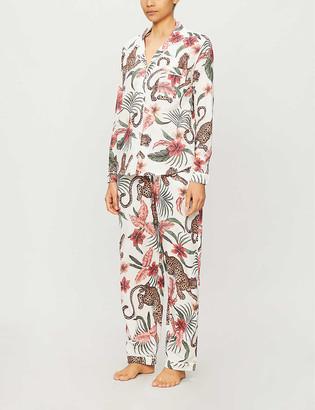 Desmond & Dempsey Soleia jungle-print organic cotton pyjama set