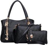 Win8Fong Women's 3 Pcs Set Vintage PU Leather Handbag Shoulder Bag Tote Satchel Hobo Bag