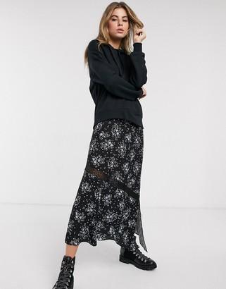 Miss Selfridge hanky hem skirt in dark floral
