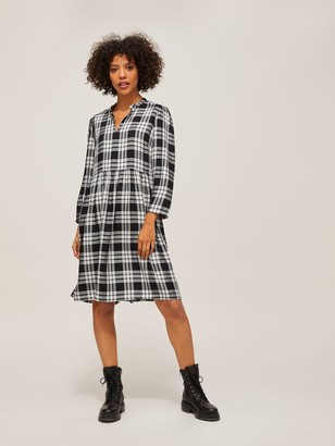 AND/OR Rickie Check Dress, Black/Multi