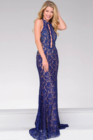Jovani High Neck Lace Beaded Halter Top Dress 45169