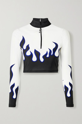 Adam Selman Sport Core Cropped Printed Stretch Top - White