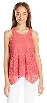 Eyeshadow Women's Ruffle Hem Racer Back Allover Lace Tank