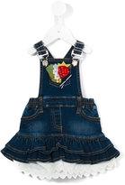 MonnaLisa embellished layered denim dress - kids - Cotton/Polyester/Spandex/Elastane - 18 mth