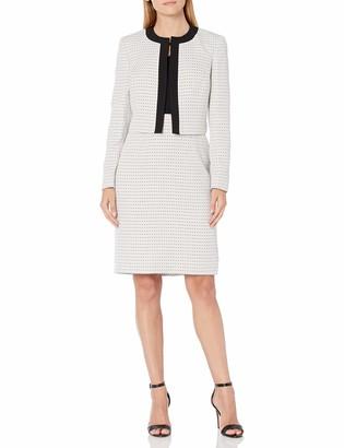 Le Suit LeSuit Women's Open Front Contrast Stripe Tweed Dress Suit