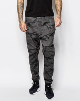 Asos Drop Crotch Joggers In Gray Camo Twill Overdye