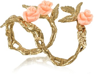 Bernard Delettrez Two Fingers Leafy Bronze Ring w/3 Pink Resin Roses