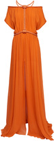 Jay Ahr Silk Off The Shoulder Maxi Dress