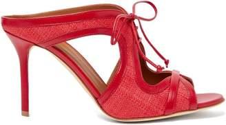 Malone Souliers Soraya Leather-trimmed Raffia Mules - Womens - Red