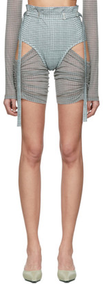Charlotte Knowles SSENSE Exclusive Blue Check Anti Shorts