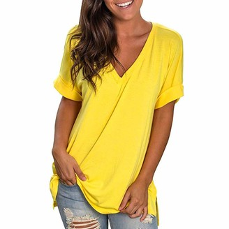 Bovake Blouse Women Solid Color V Neck Blouse Bovake Plus Size Loose Short Sleeve Baggy Soft Breathable Ladies Summer Casual Basic Casual Daily Fashion Simple Beach Top Shirt (S