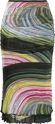 Dvf Diane Von Furstenberg Abstract-Print Fitted Skirt