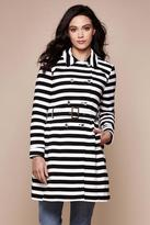 Yumi Stripe Trench Coat Black