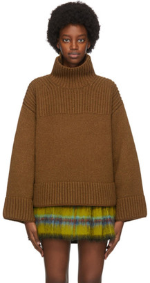Acne Studios Brown Wool and Silk Rib Knit Turtleneck