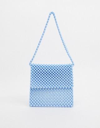 Faithfull The Brand Faithfull beaded bag in pale blue