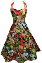 BOOLAVARD Women's Dress Halter 1950's Style Beach Print Pin Up Swing Skirt XL