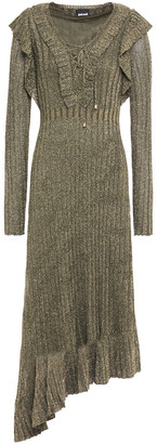 Just Cavalli Lace-up Metallic Ribbed-knit Midi Dress
