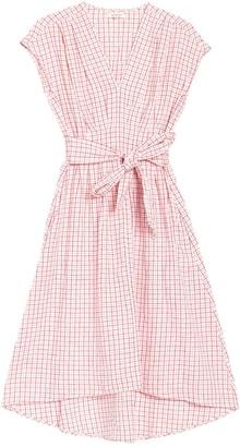 Max Studio Striped V-Neck Tie Waist A-Line Dress