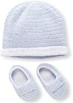 Elegant Baby Hat & Bootie Set, Blue, 0-6 Months