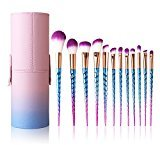 Makeup Brushes Set Colorful Unicorn 12Pcs Foundation Eyebrow Eyeliner Eye-shadow Brush Cosmetic Conceler Brushes Kit Tool (Purple)