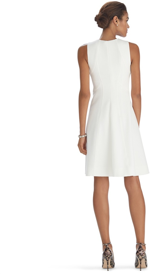White House Black Market Sleeveless Zip Front Fit and Flare Dress
