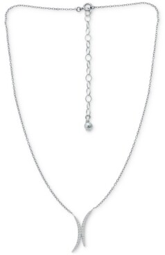 """Giani Bernini Cubic Zirconia Double Curve 16"""" Statement Necklace, Created for Macy's"""