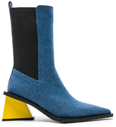 Marques Almeida Marques ' Almeida Pointy Mid Denim Heel Boots in Blue.