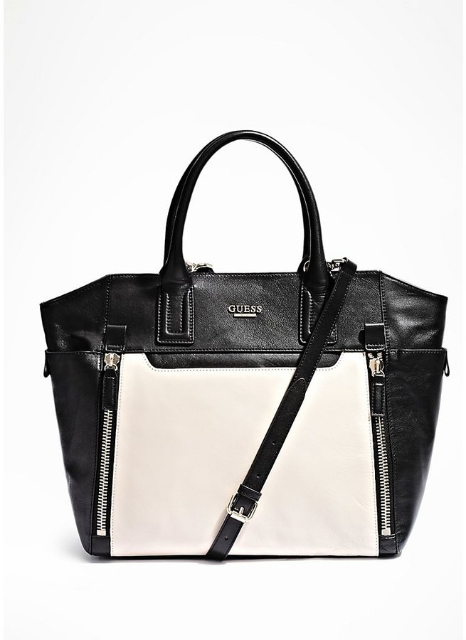 GUESS Color-Blocked Leather Tote with Zipper Trim