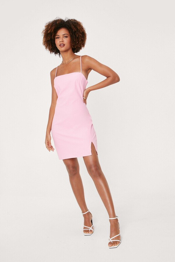 Thumbnail for your product : Nasty Gal Womens Linen Look Square Neck Mini Dress - Pink - 4
