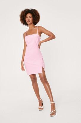 Nasty Gal Womens Linen Look Square Neck Mini Dress - Pink - 12
