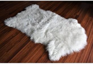 "Brundidge Animal Print Handmade 2'2"" x 3'3"" Sheepskin White Indoor / Outdoor Area Rug Millwood Pines"